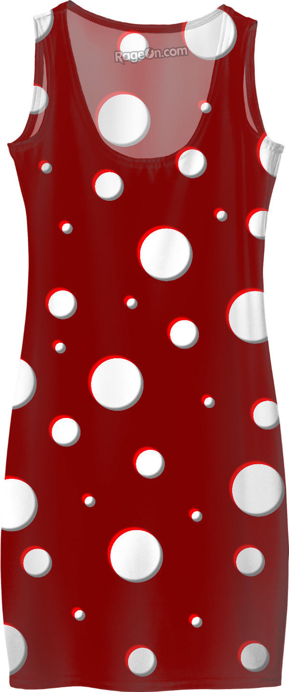 Mushroom pattern girls simple dress, classic polka dot, asymetric design, dark red, scarlet, white dots