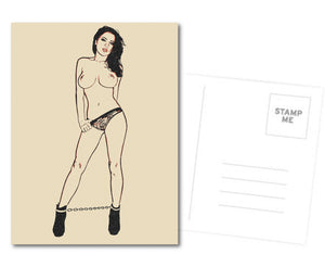 Fetish Postcard, Greeting Card, Photo Card - Busty and glamour, pet slave girl
