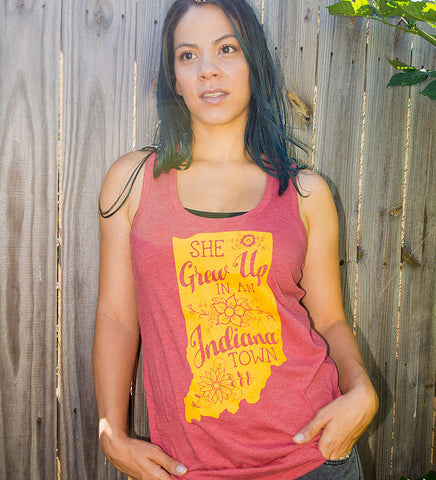 """She Grew Up In An Indiana Town"" Womens Vintage Red Racerback Tank"