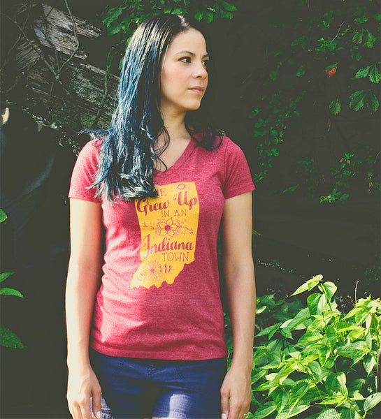 """She Grew Up In An Indiana Town"" Womens Vintage Red V-Neck Tee"