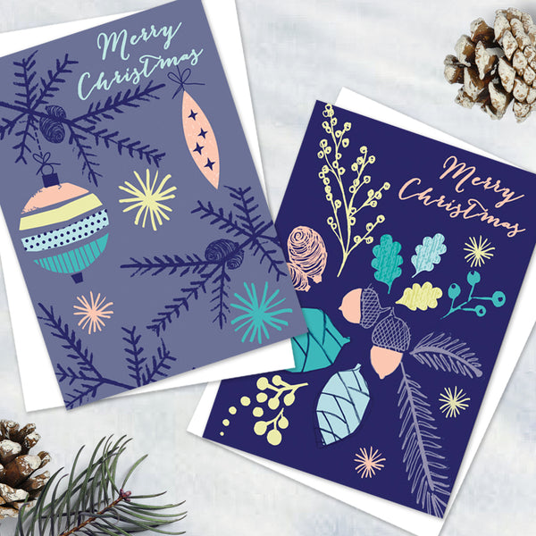 Pack Of 10 Pretty Alpine Blue Christmas Design Notecards With Envelopes - 2 Design - Blank Inside - Unboxed (Pack of 6)
