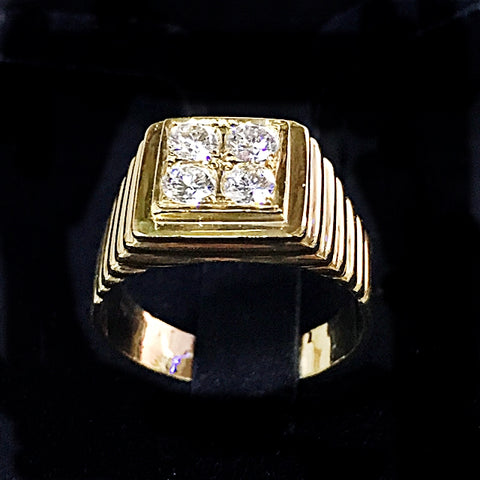 20K MENS GOLD RING WITH DIAMONDS - (Kallang Bahru)