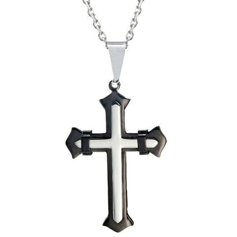 "Powerful Mens Stainless Steel Cross Necklace Pendant (Black, Silver, 21"" inches Chain)"