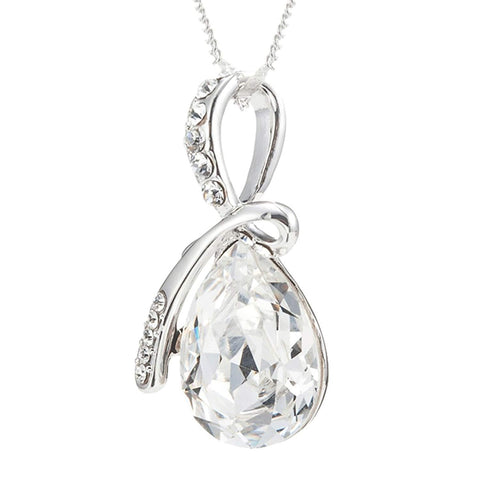 Eternal Love Teardrop Swarovski Elements Pendant Necklace - Clear