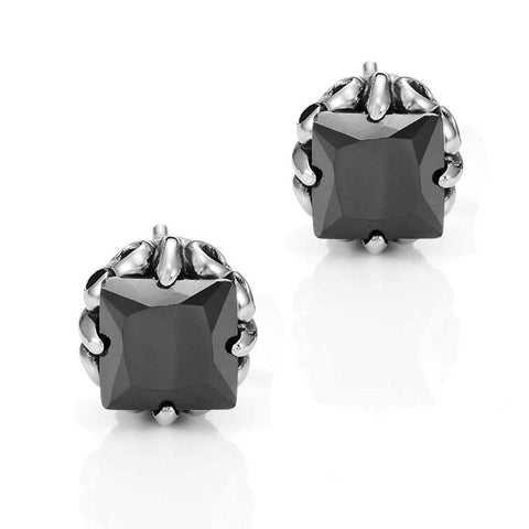 Vintage Men's Stud Earrings Stainless Steel Rectangular Cubic Zirconia (Silver, Black, 10mm)
