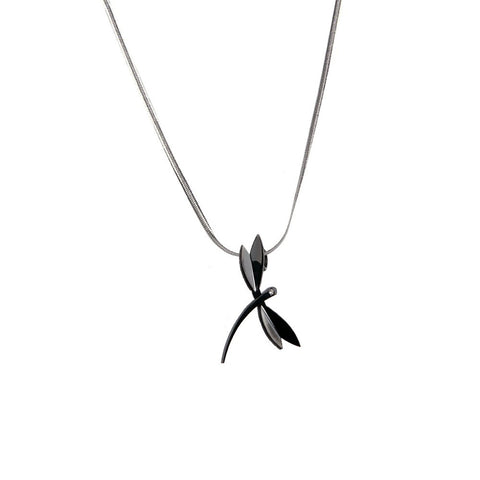 "Good Luck Women Cubic Zirconia Stainless Steel Dragonfly Pendant Chain Necklace 18"" (Black, Silver)"