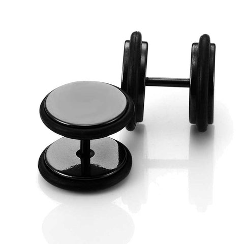Stainless Steel Unisex Round Black Stud Earrings Set with Rubber Wrapped, 2pcs, 10mm