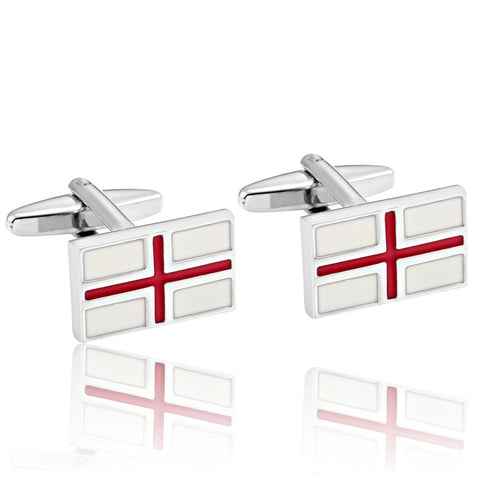 Urban Jewelry Rectangle Men's Red Cross Cufflinks 316L Stainless Steel Silver Cuff Links