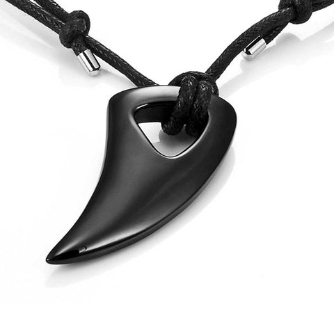 Men's Black 316l Stainless Steel Alpha Spear Wolf Teeth Pendant Chain Necklace