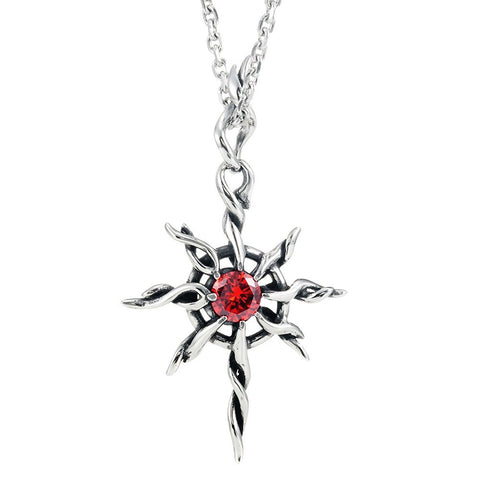 Vintage Sun-God Men's Necklace Pendant Stainless Steel (Silver, Red, 21 inch Chain)