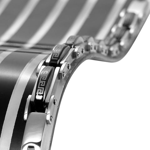 Industrial Greek Pattern 316L Stainless Steel Link Cuff Bracelet for Men (Black, Silver)