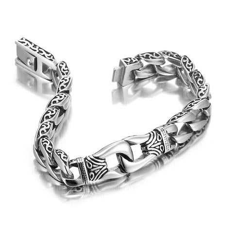Amazing Stainless Steel Men's link Bracelet Silver Black 9 Inch (With Branded Gift Box)