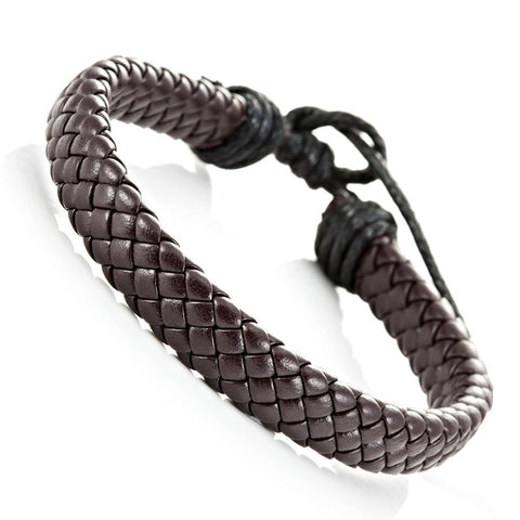 Trendy Braided Brown Pu Leather Bracelet Cuff Bangle for Men and Women, Unisex (Resizable)