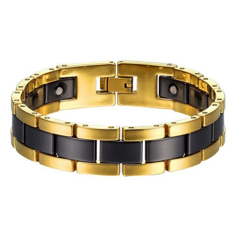 Impressive Two-Tone Tungsten, Ceramic & Magnets Link Bracelet for Men (Gold, Black)