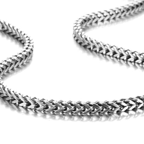 Urban Jewelry Stunning Mechanic Style Stainless Steel Silver Men's Necklace Link Chain (19,21,23 Inches)
