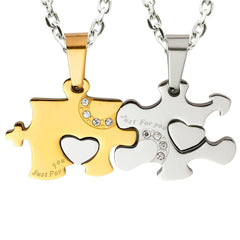 "Urban Jewelry Just for You 2pcs His & Hers Puzzle Heart Couples Crystal Pendant Necklace Set with 19"" & 21"" Chains"