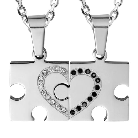 "Urban Jewelry 2pcs His & Hers Puzzle Sparkle Heart Couples Jewelry Crystal Pendant Necklace Set with 19"" & 21"" Chain"