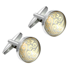 Urban Jewelry Oriental Style Round 316L Stainless Steel Cufflinks for Men (Silver)