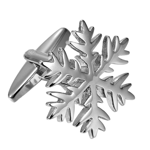 Urban Jewelry Unique Christmas Snow Snowflakes Stainless Steel Cufflinks for Men (Silver)