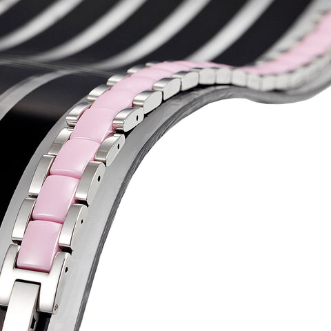 Urban Jewelry Women's 316 Stainless Steel and Ceramic Link Bracelet Easy to Slip on (Silver, Pink, 7.85 inches)