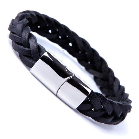 Urban Jewelry Unique Braided Black Cuff Leather Bracelet for Men with Elegant Stainless Steel Clasp