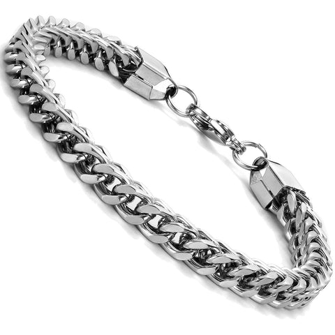 Urban Jewelry Silver Tone 316L Stainless Steel Gourmet Link Bracelet for Men