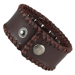 Urban Jewelry Men's Brown Genuine Leather Cuff Bangle Bracelet Weave Design (8.25