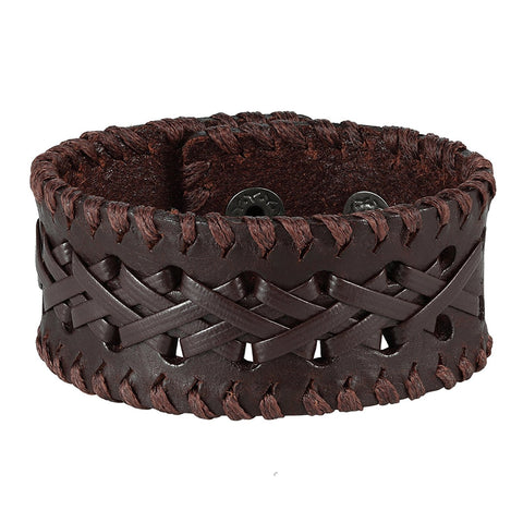 "Urban Jewelry Men's Brown Genuine Leather Cuff Bangle Bracelet Weave Design (8.25"", 1.2"" width)"