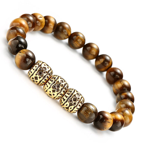 Urban Jewelry Beaded Cuff Bracelet with Stainless Steel Gold Color and Brown Beads