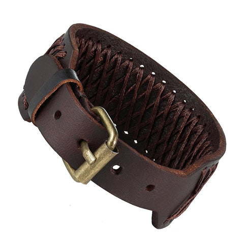 Urban Jewelry Classic Brown Genuine Leather Cuff Men's Bracelet Style (adjustable 7.3 to 9.25 inches)