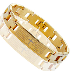Urban Jewelry Lords Prayer Cross - 316L Stainless Steel Link Bangle Bracelet for Men