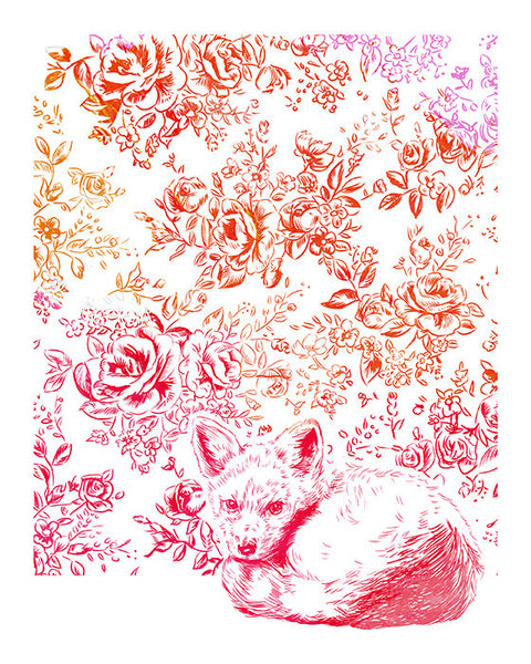 House Fox Illustrated Print 8.5x11""