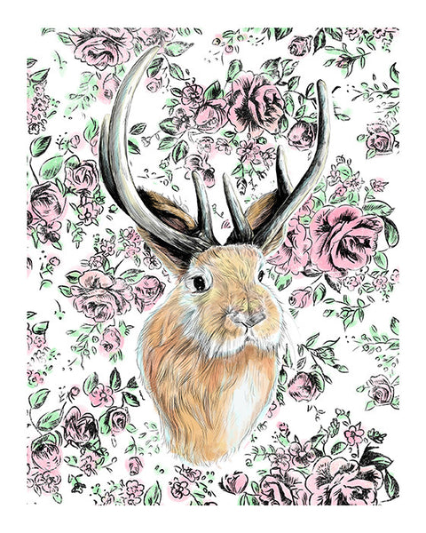 House Jackalope Print Illustrated Print 8.5x11""