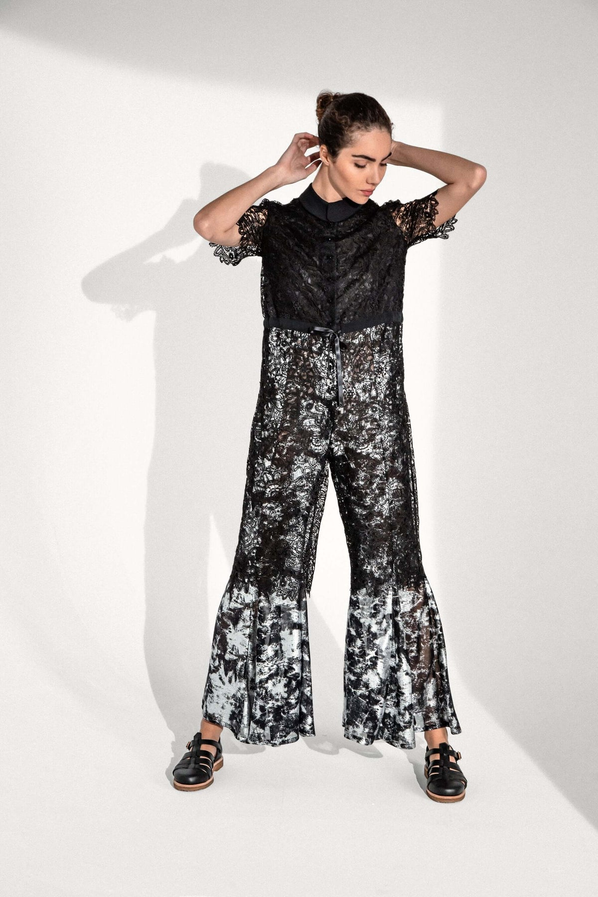 Bambou jumpsuit in hibiscus lace
