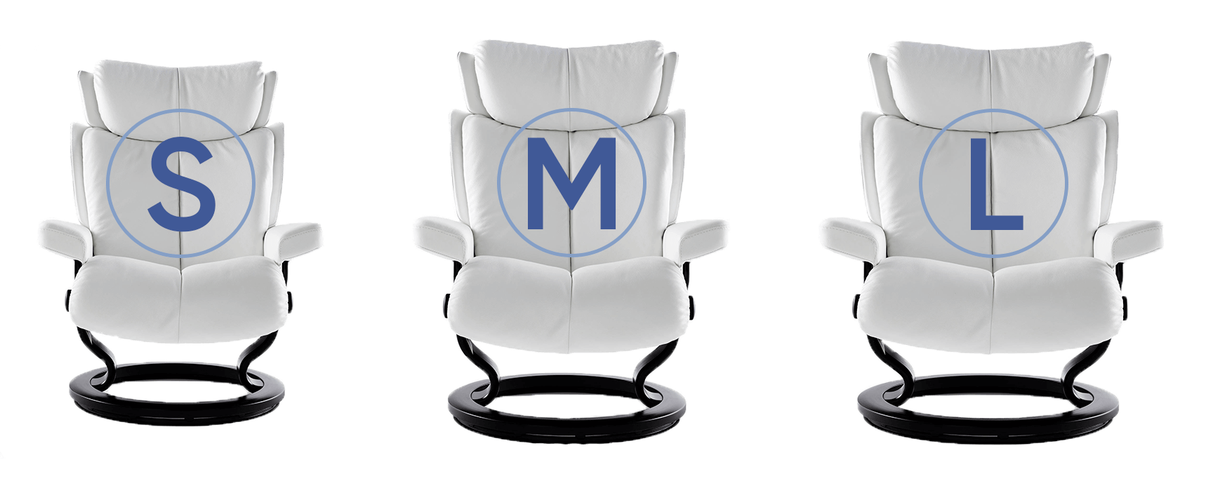 stressless small medium large chairs