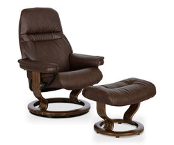 Stressless® Sunrise Recliner & Ottoman - Chocolate