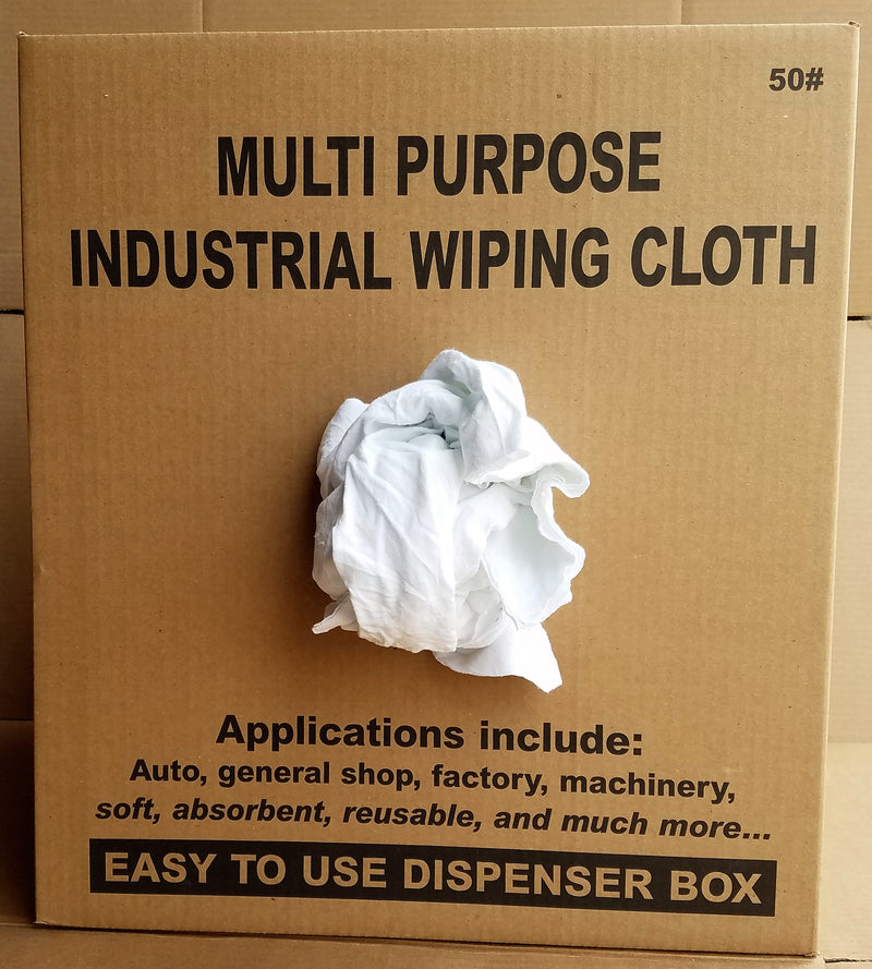 New Washed Bleached Knit Rags - 50 LB Box