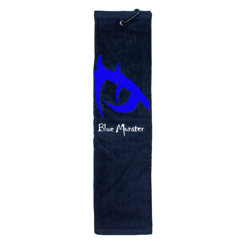 Blue Monster 'Eye' Trifold Golf Towel Black