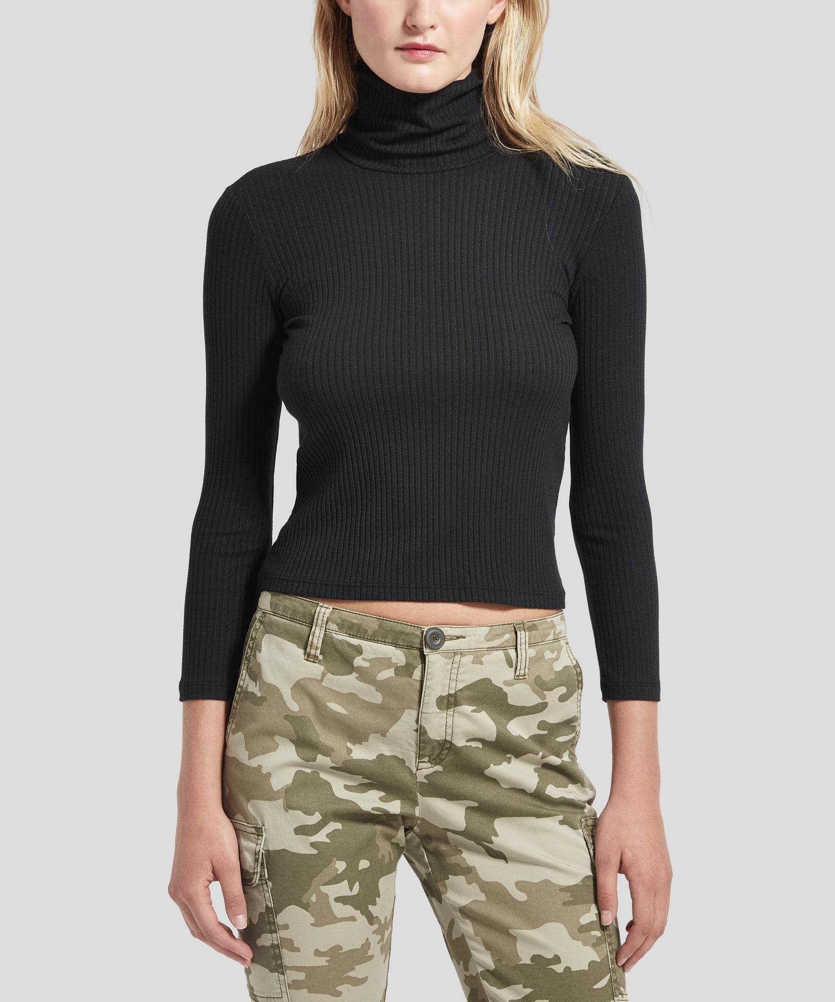 ATM Modal Rib Cropped Turtleneck
