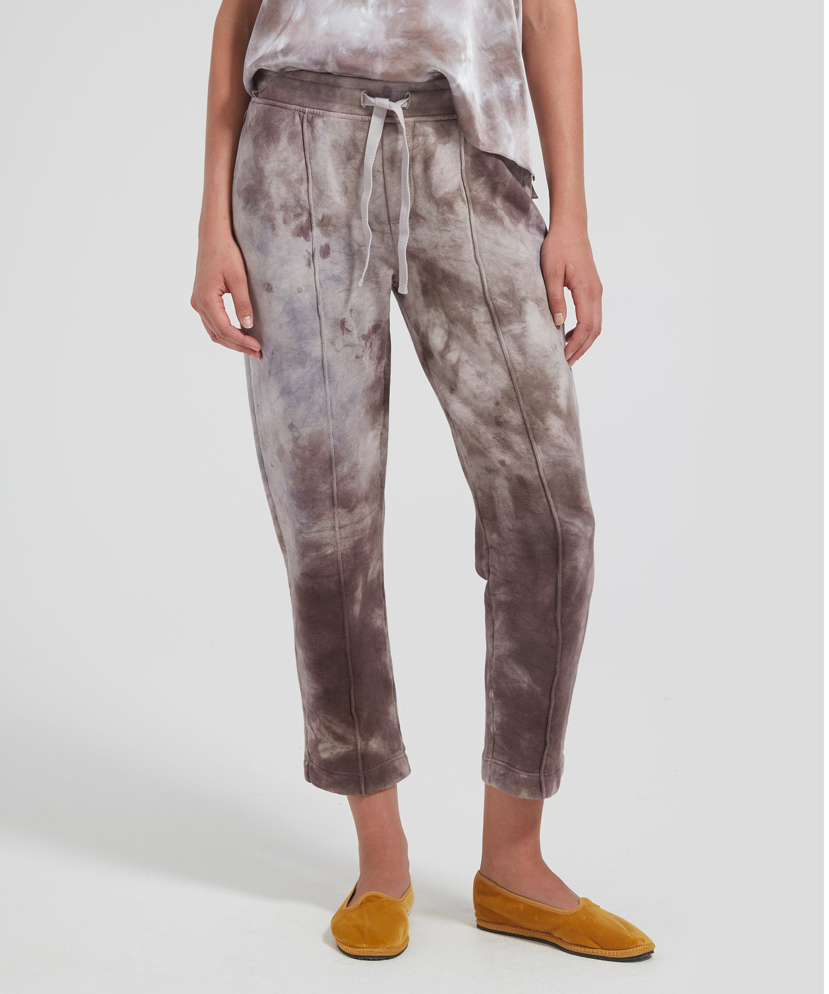 ATM Tie Dye French Terry Pull-On Cropped Pants