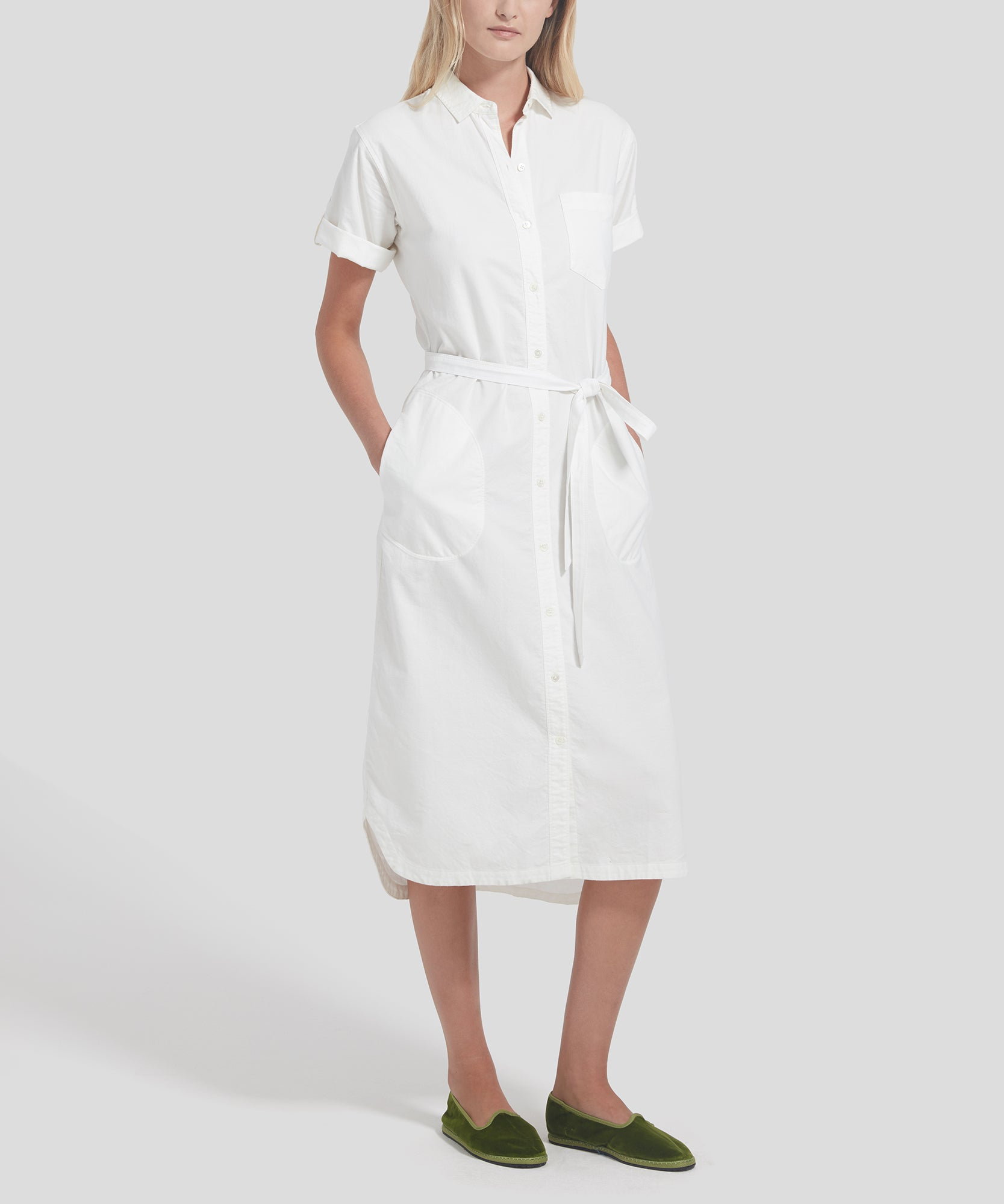 ATM Cotton Oxford Short Sleeve Belted Shirt Dress