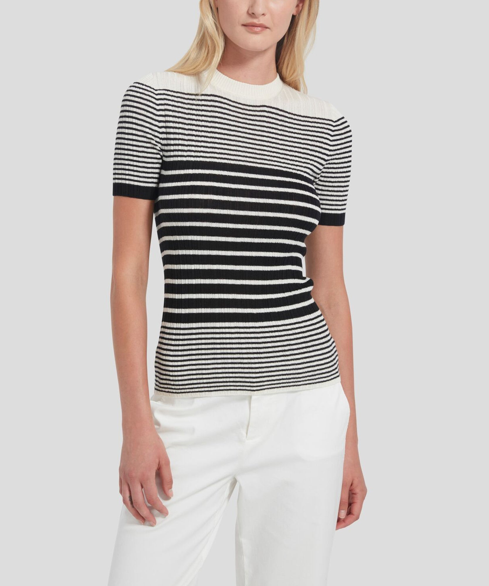 ATM Striped Short Sleeve Sweater