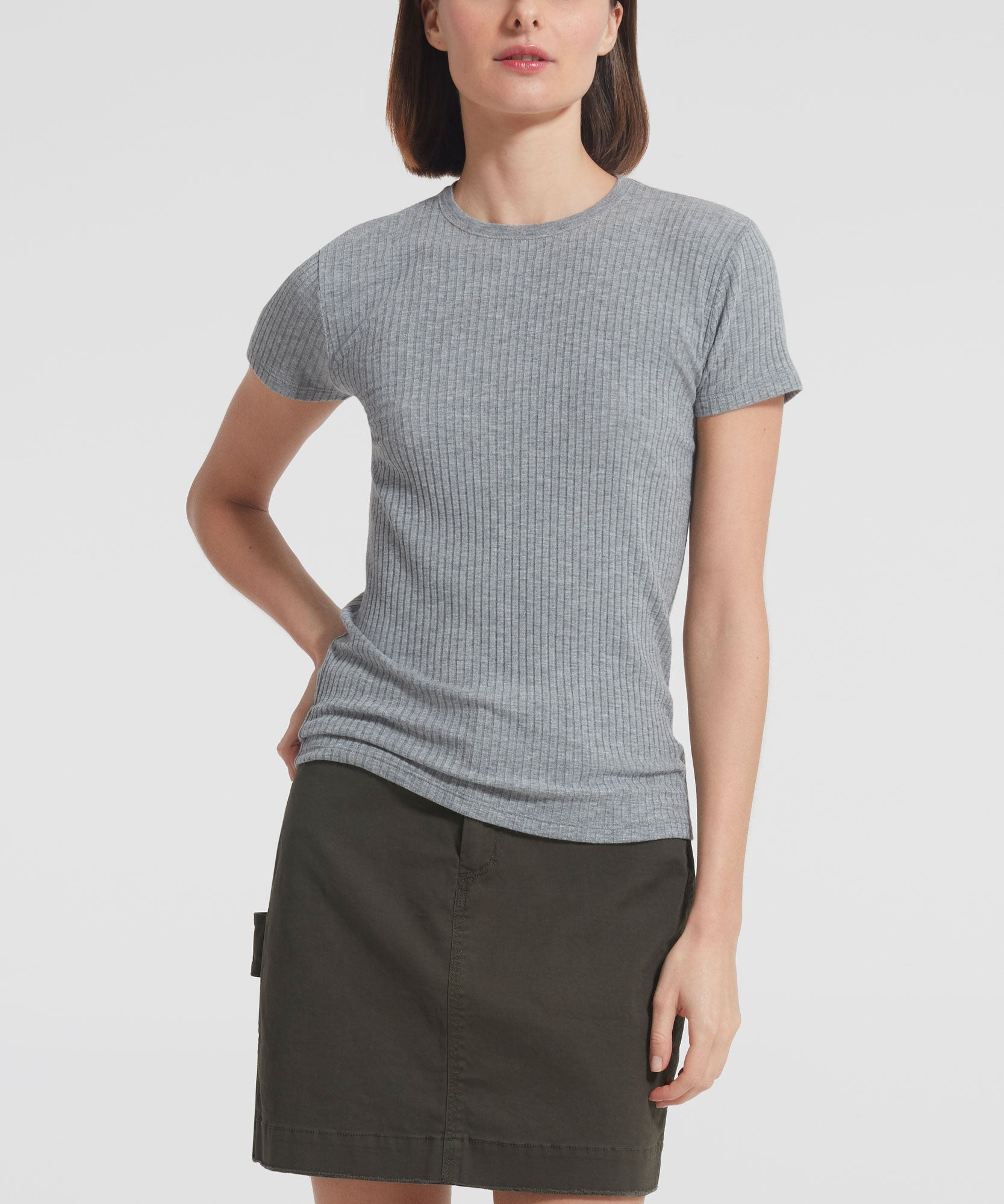 Heather Grey Modal Rib Cap Sleeve Top - Women's Ribbed T-Shirt ATM Anthony Thomas Melillo