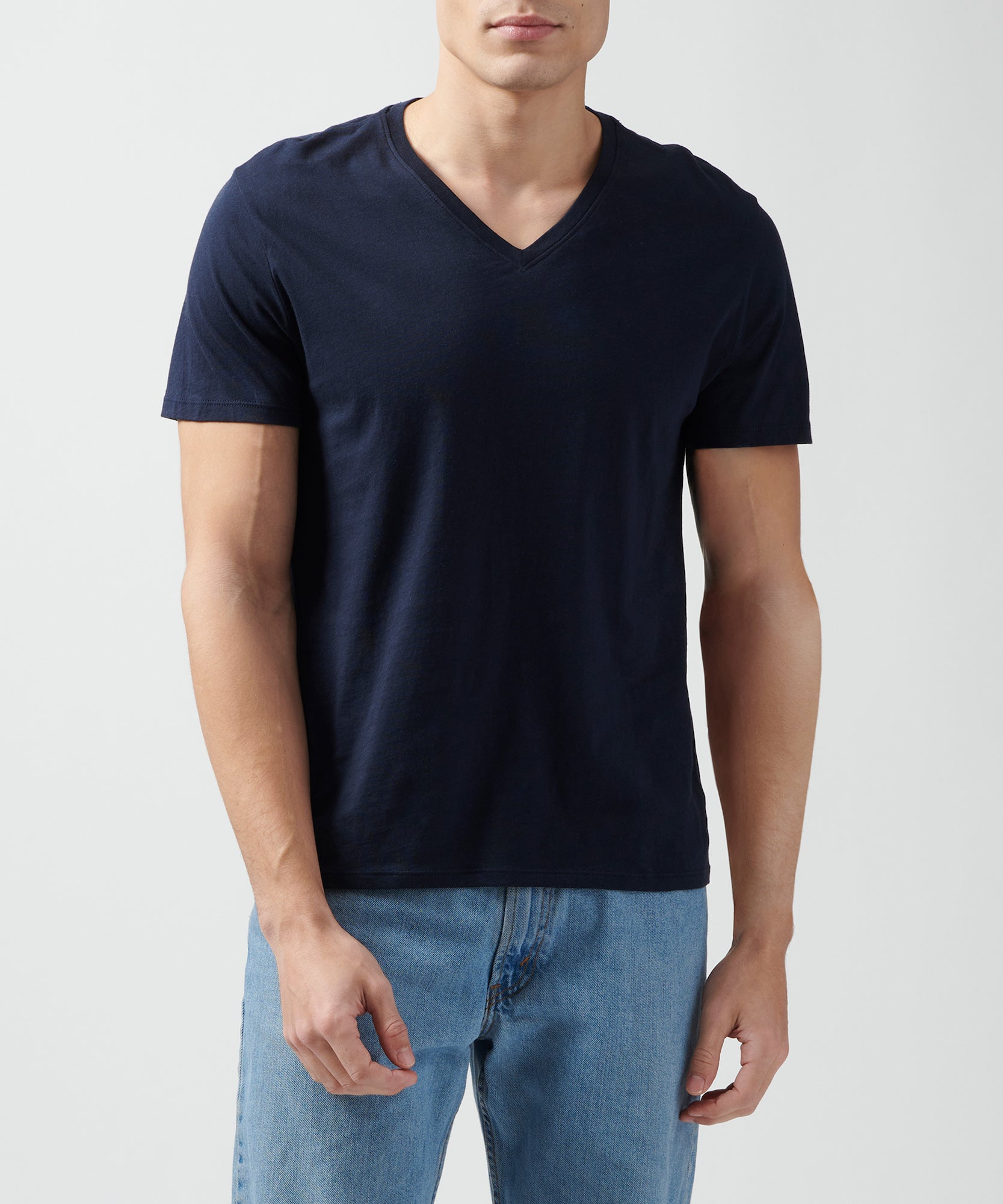Midnight Classic Jersey V-Neck Tee - Men's Cotton Short Sleeve T-shirt by ATM Anthony Thomas Melillo