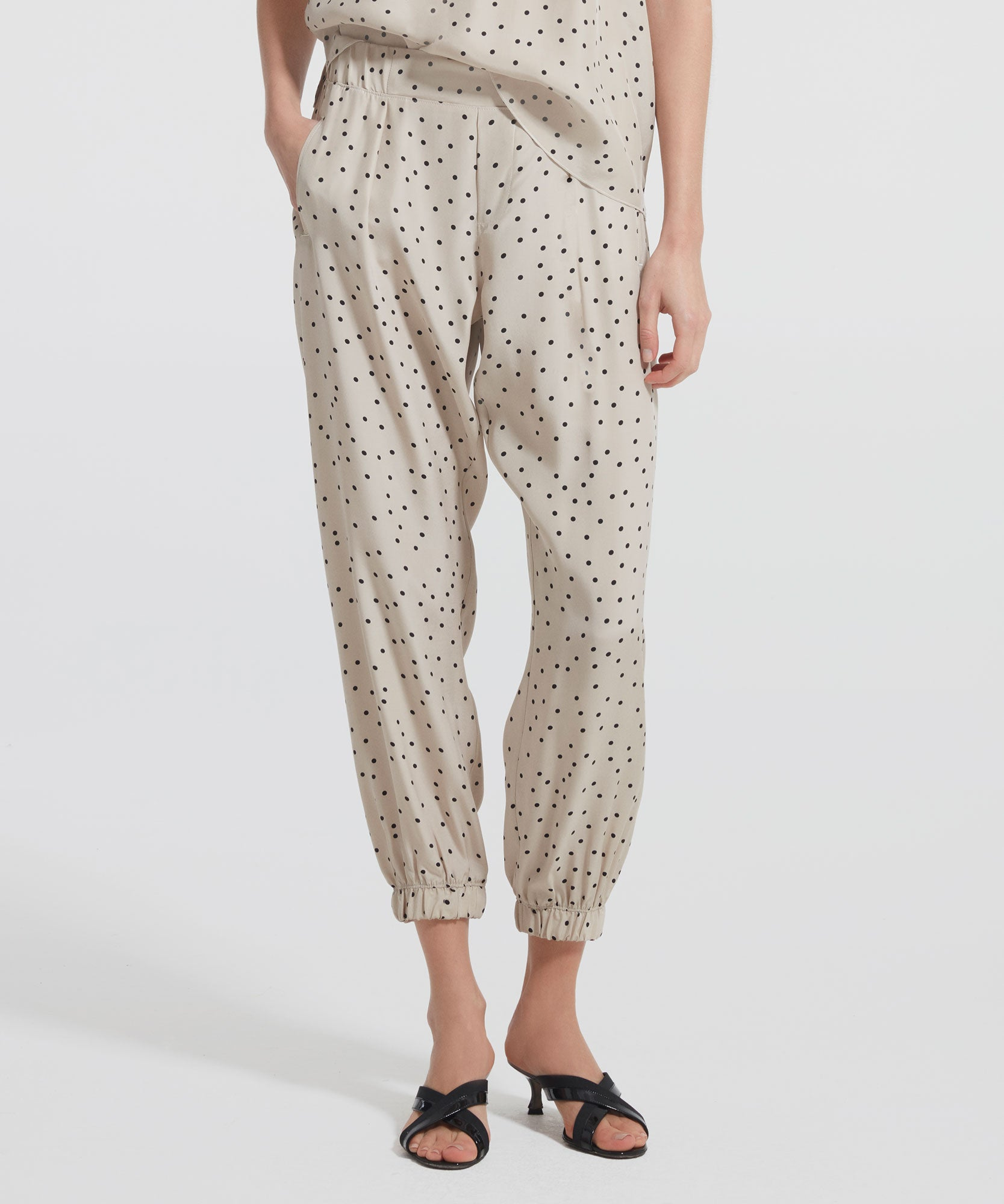 Soil Polka Dot Silk Sweatpants - Women's Silk Pants by ATM Anthony Thomas Melillo
