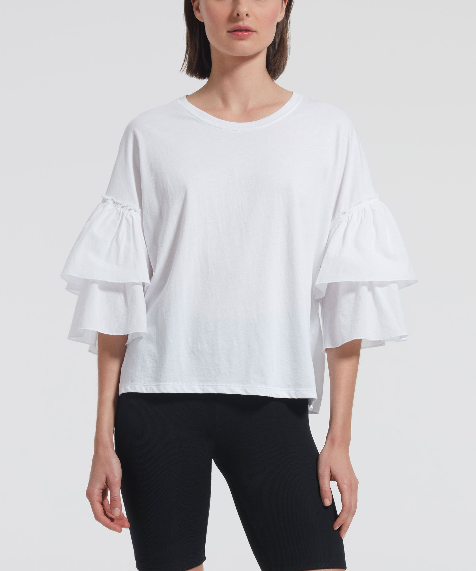 White Mixed Media Top - Women's Cotton Top by ATM Anthony Thomas Melillo