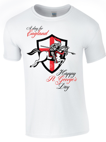 St George's Day A Day for England T-Shirt Printed DTG (Direct to Garment) for a Permanent Finish.