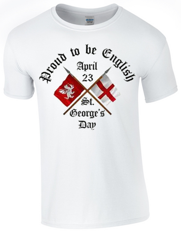St George's Day  Proud to be English T-Shirt Printed DTG (Direct to Garment) for a Permanent Finish.