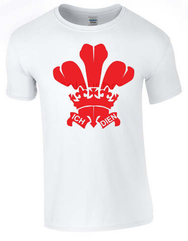 St David's Day Prince of Wales Feathers T-Shirt Printed DTG (Direct to Garment) for a Permanent Finish White