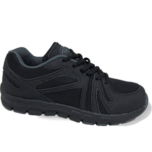 Black lace-up jogger shoes for women.
